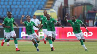 Ibrahim Amada et ses coéquipiers malgaches fêtent leur premier but contre la RDC.