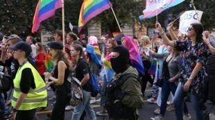 Marcha pela Igualdade em apoio à comunidade LGBT em Szczecin, Polônia, 14 de setembro de 2019.