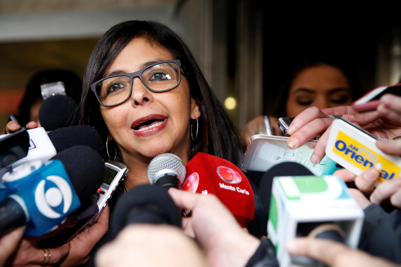 La canciller venezolana Delcy Rodríguez hizo el anuncio de la supuesta transferencia a favor de Venezuela, desmentida por los demás representantes del Mercosur.