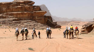 Tourists in the Wadi Rum