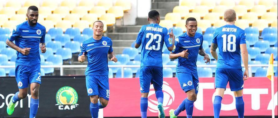 Wachezaji wa klabu ya Supersport United katika maandalizi kabla ya kumenyana na TP Mazembe na kutoka sare ya mabao 2-2