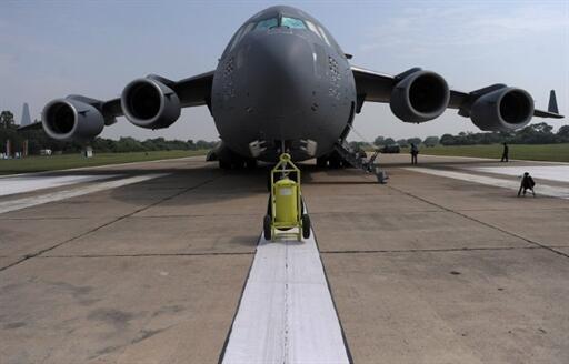 Máy bay C17 nhân một cuộc tập trận chung giữa Hoa Kỳ và Ấn Độ tại Agra (AFP/ Vatsyana)