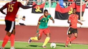 Le Camerounais Patrick Moukoko face à l'Angola, le 20 janvier 2018.