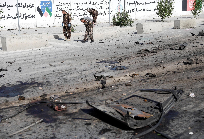 阿富汗治安部队在首都喀布尔巡逻