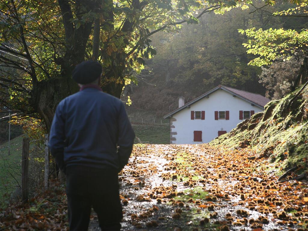 Maison et ambiance d'automne au pays Quint, France.