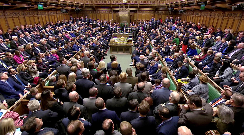 Vue du Parlement après le vote contre l'accord de Brexit, à Londres, le 15 janvier 2019.