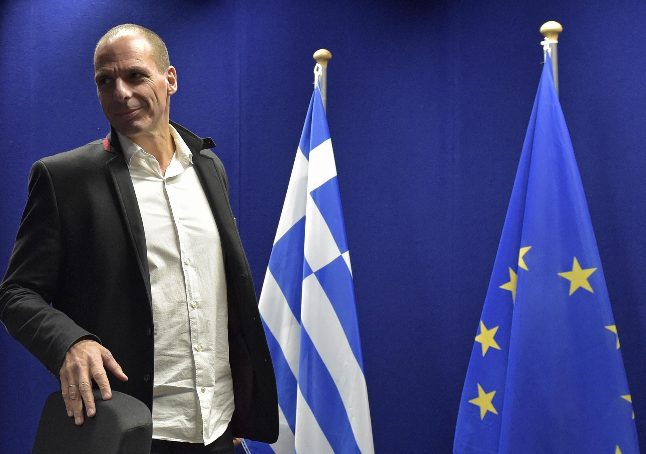 Bộ trưởng Tài chính Hy Lạp Yanis Varoufakis tại phiên họp bất thường khối Euro ngày 20/02/2015.