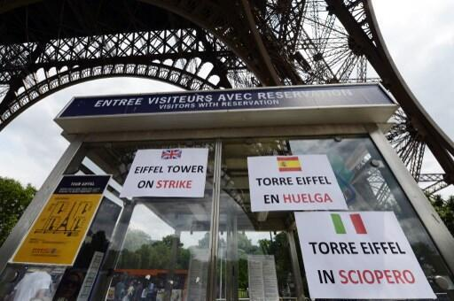 Strike posters at the Eiffel Tower this week