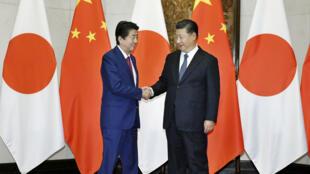 安倍与习近平在北京 2018年10月26日