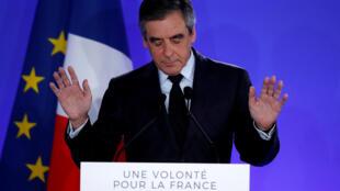 François Fillon lors de son discours de défaite, le 23 avril 2017.