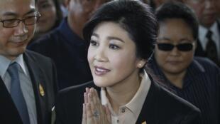 Yingluck Shinawatra arriving at the Supreme court in Bangkok, 19 May 2015.