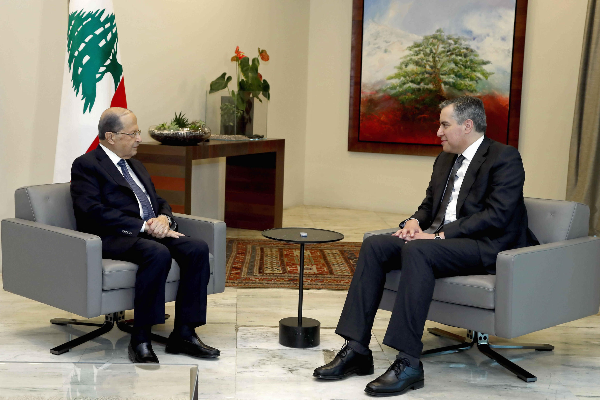 Lebanese President Michel Aoun, left, meets with Prime Minister-Designate Mustapha Adib, at the presidential palace, in Baabda, east of Beirut, during last-ditch talks to form a new government, 14 September 2020.