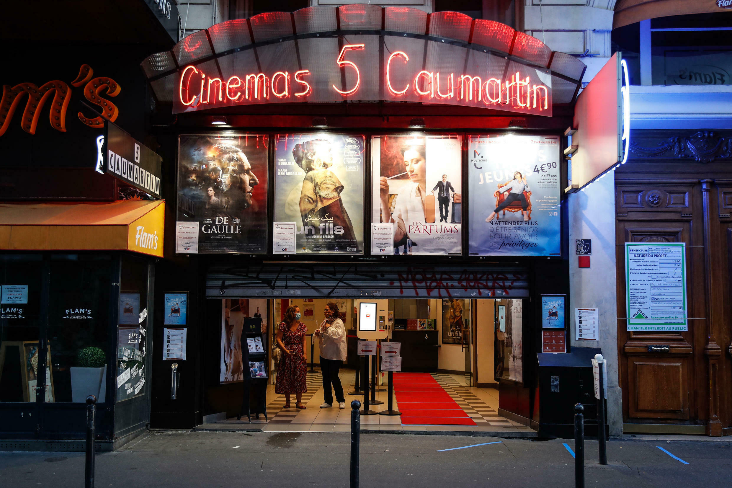 The Cinema 5 Caumartin cinema in Paris reopens at one minute past midnight on June 22, 2020.