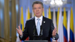 Le président colombien, Juan Manuel Santos, lors d'un discours le 24 août 2016 à Bogota.