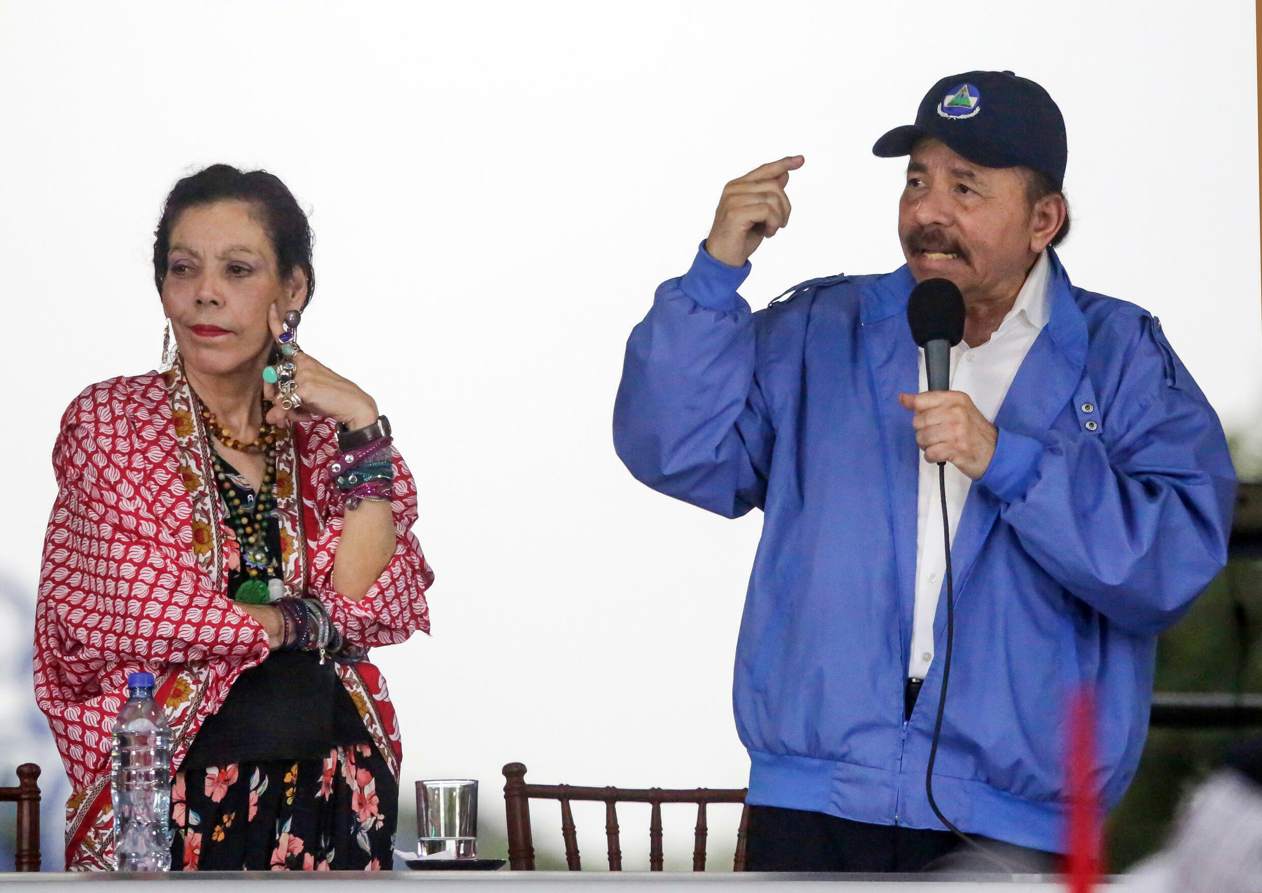 Nicaraguan President Daniel Ortega (R) and his wife, Vice President Rosario Murillo, still command a lot of support despite accusations of repression and a mounting death toll