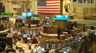 La Galerie des membres au New York stock exchange, à Wall Street.