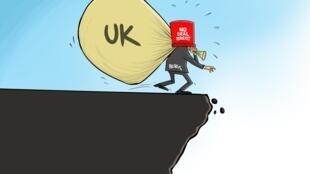 Caricatura de Boris Johnson levando consigo o Reino Unido para o precipício, em caso de Brexit  sem acordo no  dia 31 de Outubro.