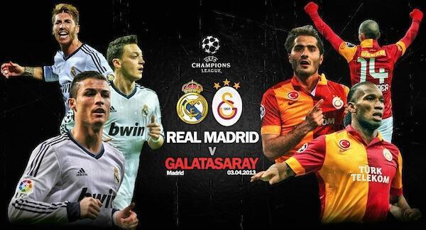 Wachezaji wa Real Madrid na wale wa Galatasaray kabla ya mchezo wao wa Robo Fainali wa Ligi ya Mabingwa Barani Ulaya