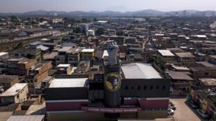 Aerial view of AfroReggae's headquarters in the Vigario Geral favela, north of Rio de Janeiro