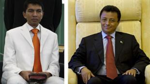Andy Rajoelina (g) et Marc Ravalomanana (d).