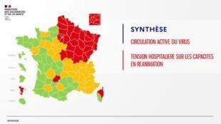 La carte des départements classés selon deux critères, la circulation active du virus et la tension hospitalière sur les capacités en réanimation. Carte du 30 avril 2020.