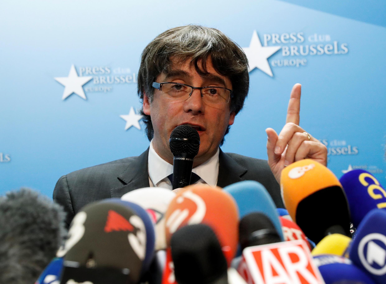 Lãnh đạo vùng tự trị Catalunya bị phế, ông Carles Puigdemont trong buổi họp báo tại Bruxelles, ngày 31/10/2017.