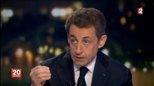 Le président-candidat Nicolas Sarkozy était l'invité du journal télé de France 2, le 22 février 2012.