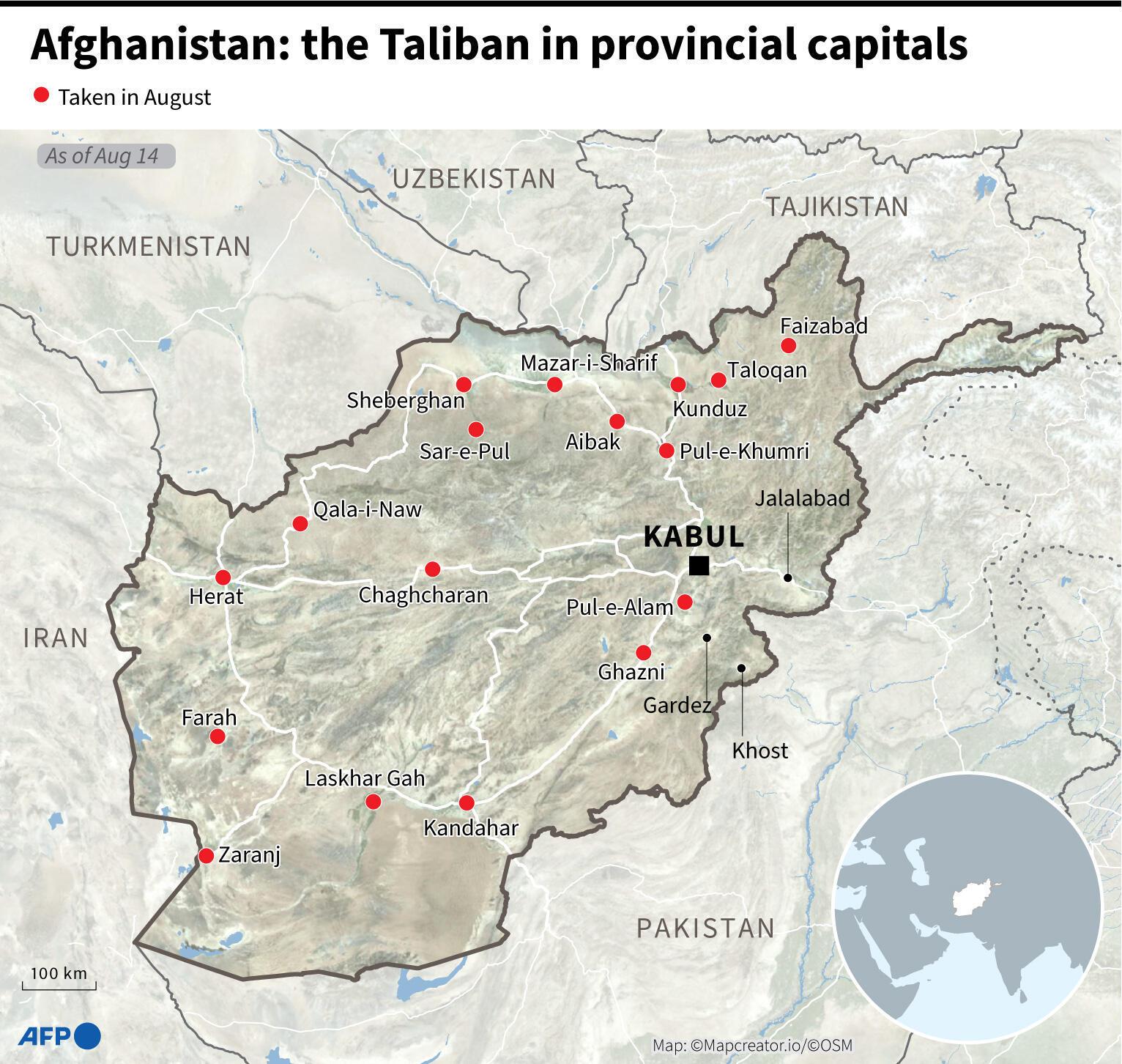 8月15日上午,塔利班開始進入阿富汗首都喀布爾。