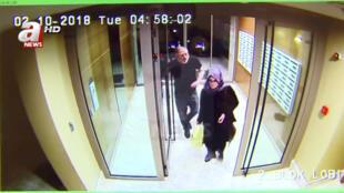 这是视频显示的沙特记者卡舒吉与未婚妻10月2日一同进入住所的镜头,几小时后,卡舒吉在沙特领事馆消失。