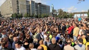 Rassemblement pour demander aux autorités de permettre aux candidats de l'opposition de se présenter aux prochaines élections locales et de relâcher les manifestants, arrêtés lors des récentes manifestations, à Moscou, le 31 août 2019.