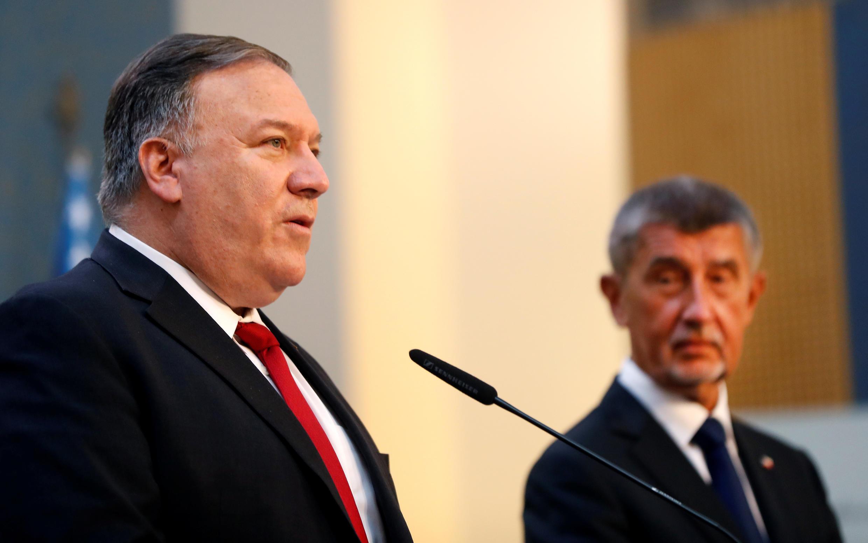 Совместная пресс-конференция госсекретаря США Майка Помпео и премьер-министра Чехии Андрея Бабиша в Праге, 12 августа 2020 года;
