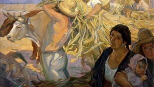 """Cuadro """"La cosecha"""" de Saturnino Herrán"""