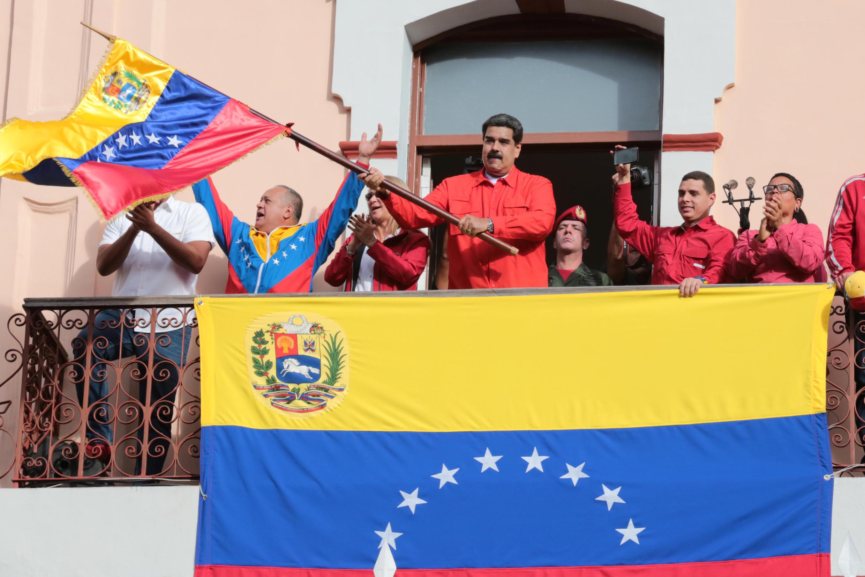 Nicolas Maduro célèbre le 61e anniversaire de fin de la dictadure de Marcos Perez Jimenez, le 23 janvier 2019 à Caracas.