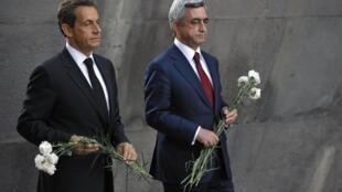 نیکلا سارکوزی و رئیس جمهور ارمنستان سرژ سرکیسیان