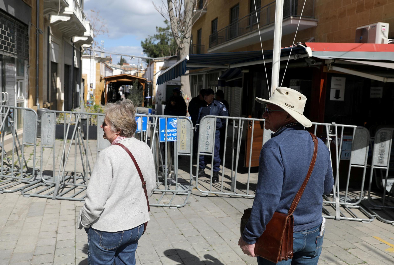 Dans les rues de Nicosie, lorsque les mesures sanitaires ont été mises en place face à l'épidémie de coronavirus, le 29 février 2020.