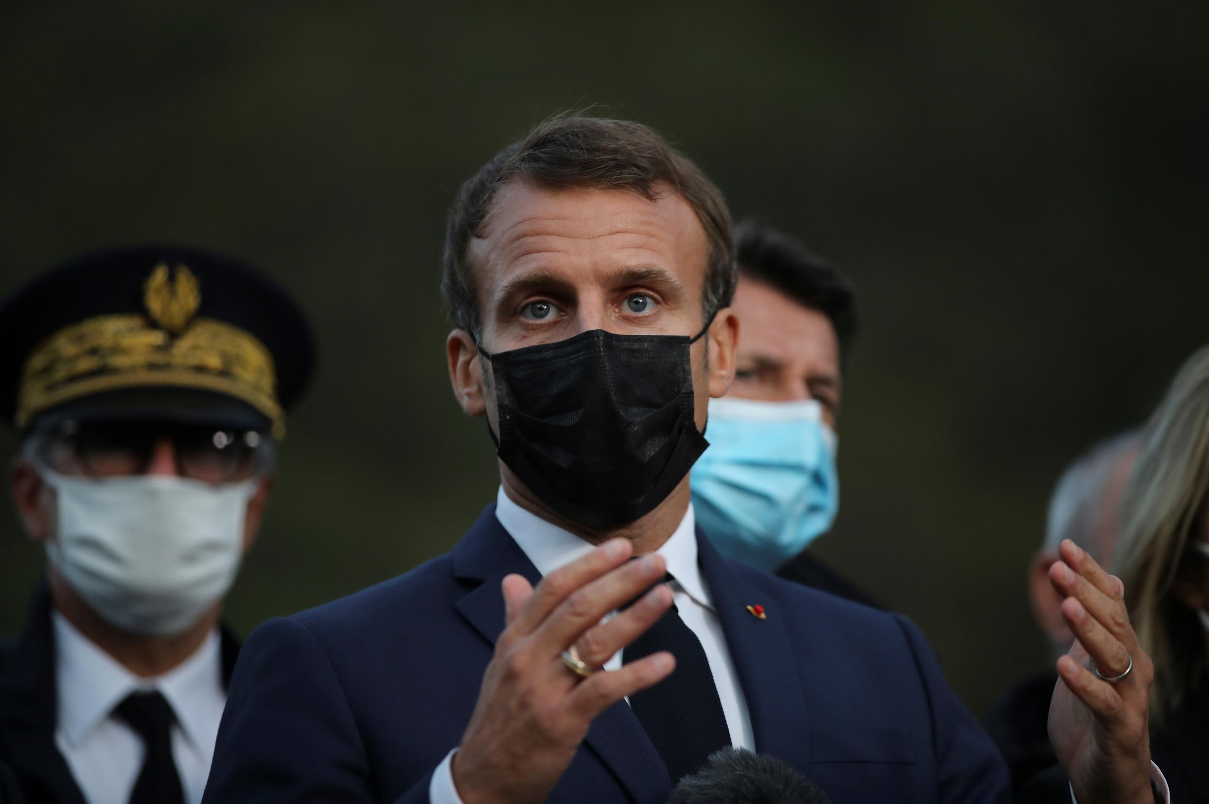 The prospect of Parisian hospitals full of Covid-19 patients puts more pressure on French president Emmanuel Macron (pictured October 7, 2020), who is widely expected to announce tighter restrictions