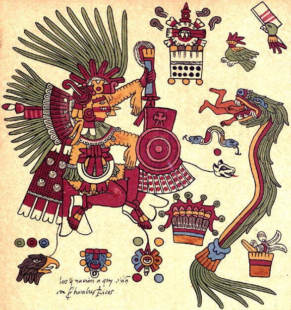 Le dieu Xipe Totec représenté avec ses attributs dans le Codex Borbonicus.
