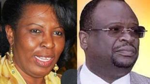 Claudine Munari (G) du Must et Guy Brice Parfait Kolelas (D) du MCDDI, candidats à la présidentielle congolaise du 20 mars 2016.