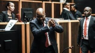 Rais wa zamani wa Afrika Kusini Jacob Zuma katika Mahakama Kuu ya Pietermaritzburg Oktoba 11, 2019 aambayo inatarajia kusikiliza kesi yake inayohusiana na rushwa.