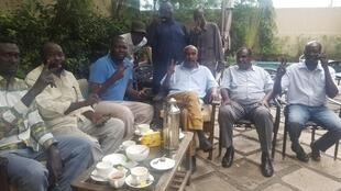 Released members of Sudan People's Liberation Movement - North in Juba on Monday June 10: Ismail Jalab (2nd from the left), Mubarak Ardol (3rd from the left), Yasir Arman (3rd, seated, from the right)