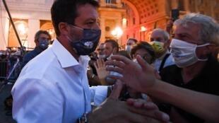 Matteo Salvini, chef du parti d'extrême droite de la Ligue, en campagne à Florence, en Toscane, le 18 septembre 2020.