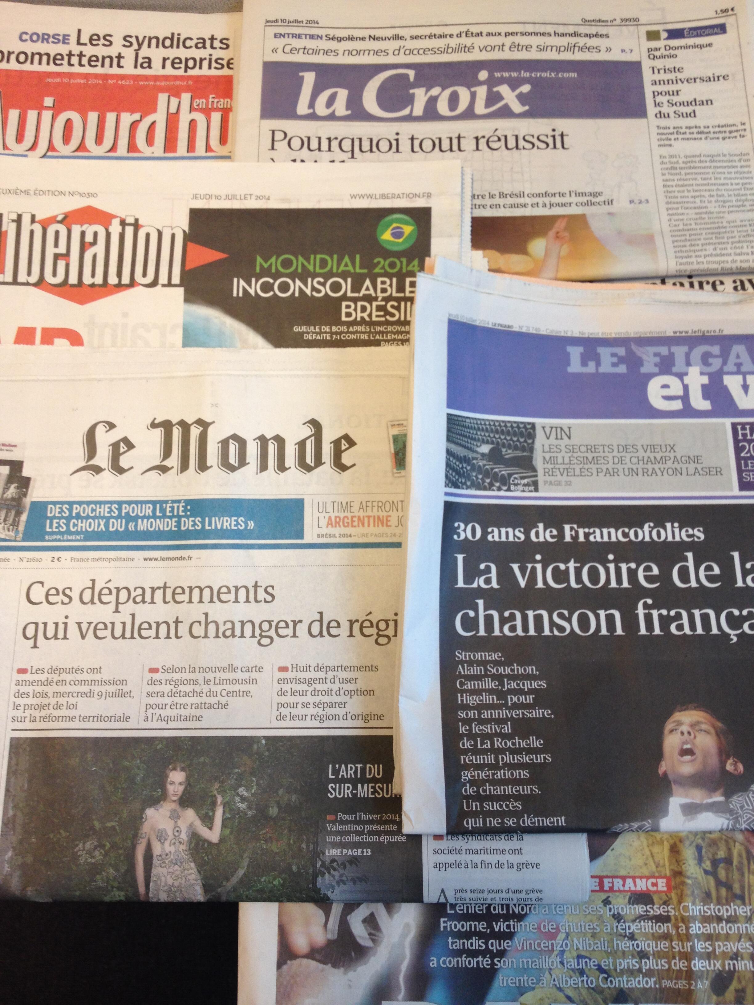Primeiras páginas dos diários franceses de 10/7/2014