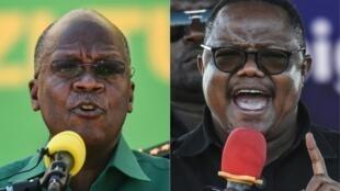 Rais wa Tanzania anayemaliza muda wake Tanzania John Pombe Magufuli (kushoto) na mgombea wa chama cha upinzani cha CHADEMA katika uchaguzi wa urais Oktoba 28, Tundu Lissu.