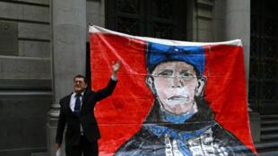 Un portrait de Francisca Linconao lors d'une manifestation mapuche à Santiago de Chile, le 21 novembre 2016.