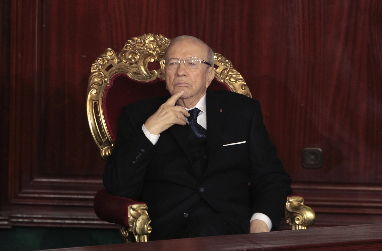 Le président Beji Caïd Essebsi, peu avant sa prestation de serment devant le Parlement, le 31 décembre 2014.