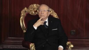Beji Caïd Essebsi, peu avant sa prestation de serment devant le Parlement, le 31 décembre 2014.