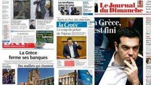 A maioria dos jornais franceses destaca a preocupação com uma possível saída da Grécia da zona do euro.