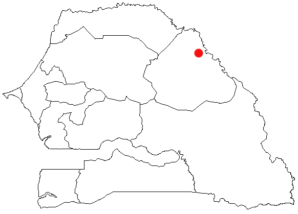 Carte du Sénégal, indiquant la ville d'Ourossogui.