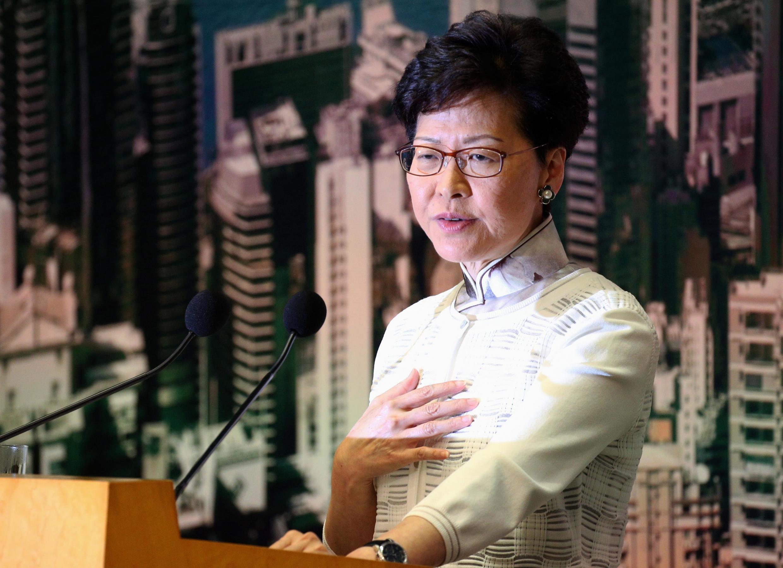 Trưởng đặc khu Hồng Kông Lâm Trịnh Nguyệt Nga (Carrie Lam) trong cuộc họp báo ngày 15/06/2019.