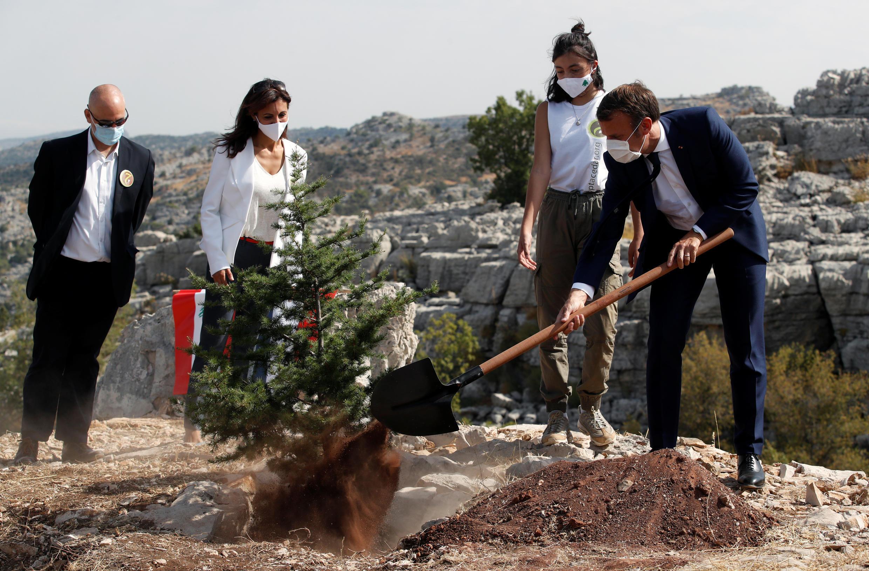Emmanuel Macron, Presidente francês em Jaj, perto de Beirute, no Líbano. 1 de Setembro de 2020.